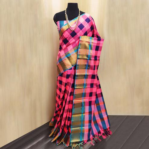 Hypnotic Pink-Multi Colored Festive Wear Checkered Printed Cotton Silk Saree