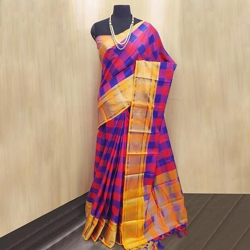 Magnetic Dark Pink-Multi Colored Festive Wear Checkered Printed Cotton Silk Saree