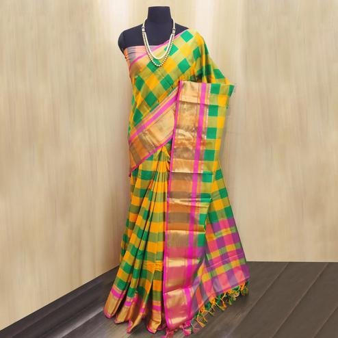 Imposing Yellow-Multi Colored Festive Wear Checkered Printed Cotton Silk Saree