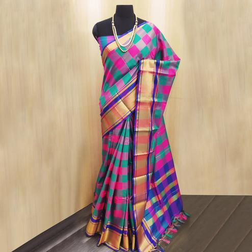 Ideal Turquoise Green-Multi Colored Festive Wear Checkered Printed Cotton Silk Saree