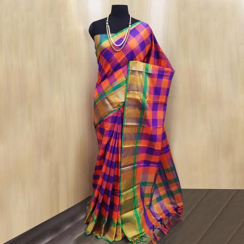 Demanding Purple-Multi Colored Festive Wear Checkered Printed Cotton Silk Saree