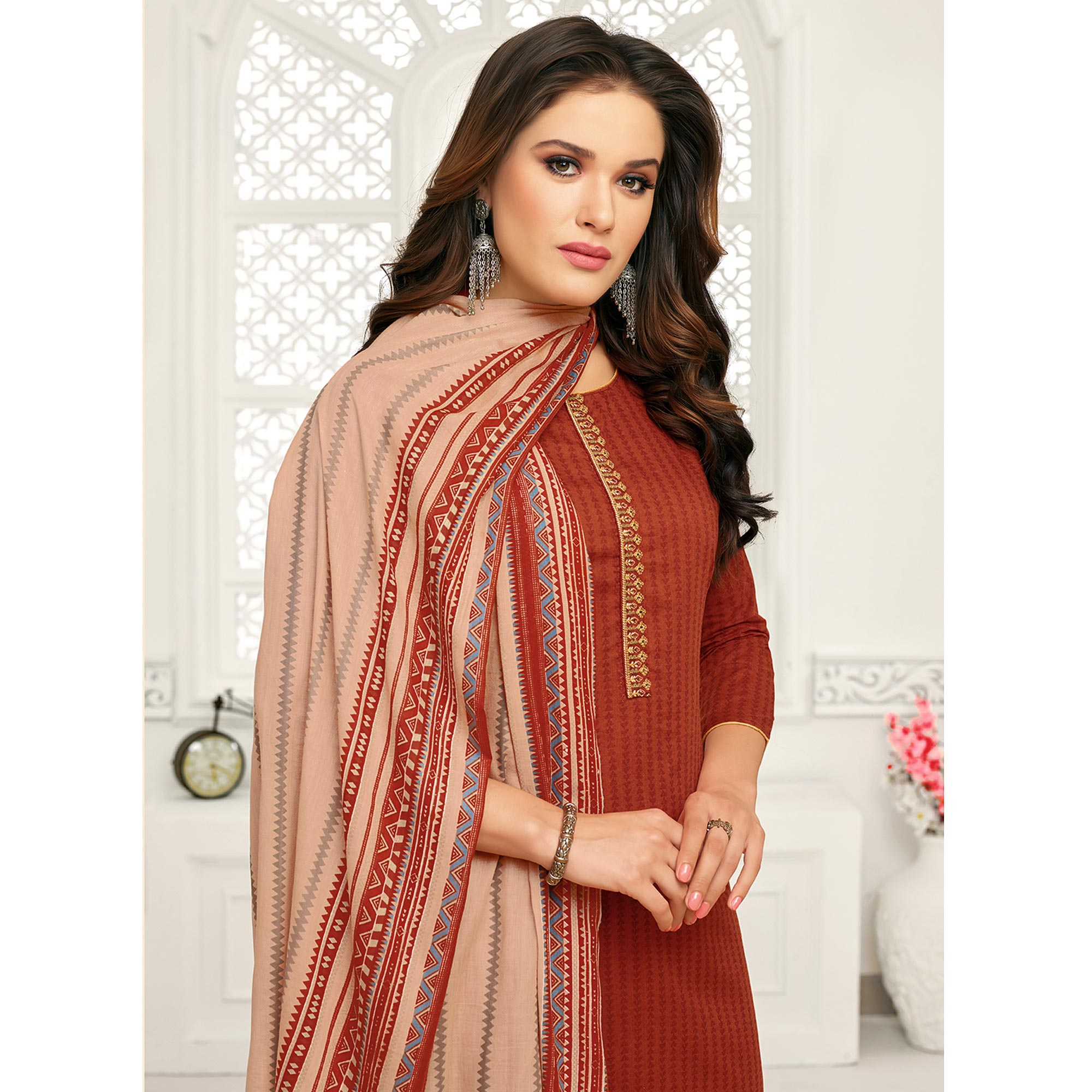 Attractive Red Colored Casual Wear Pure Cambric Cotton Palazzo Suit