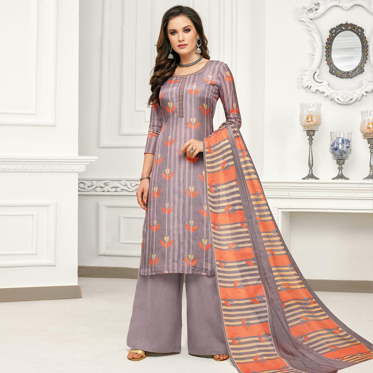 Desirable Grey Colored Casual Printed Pure Cambric Cotton Palazzo Suit