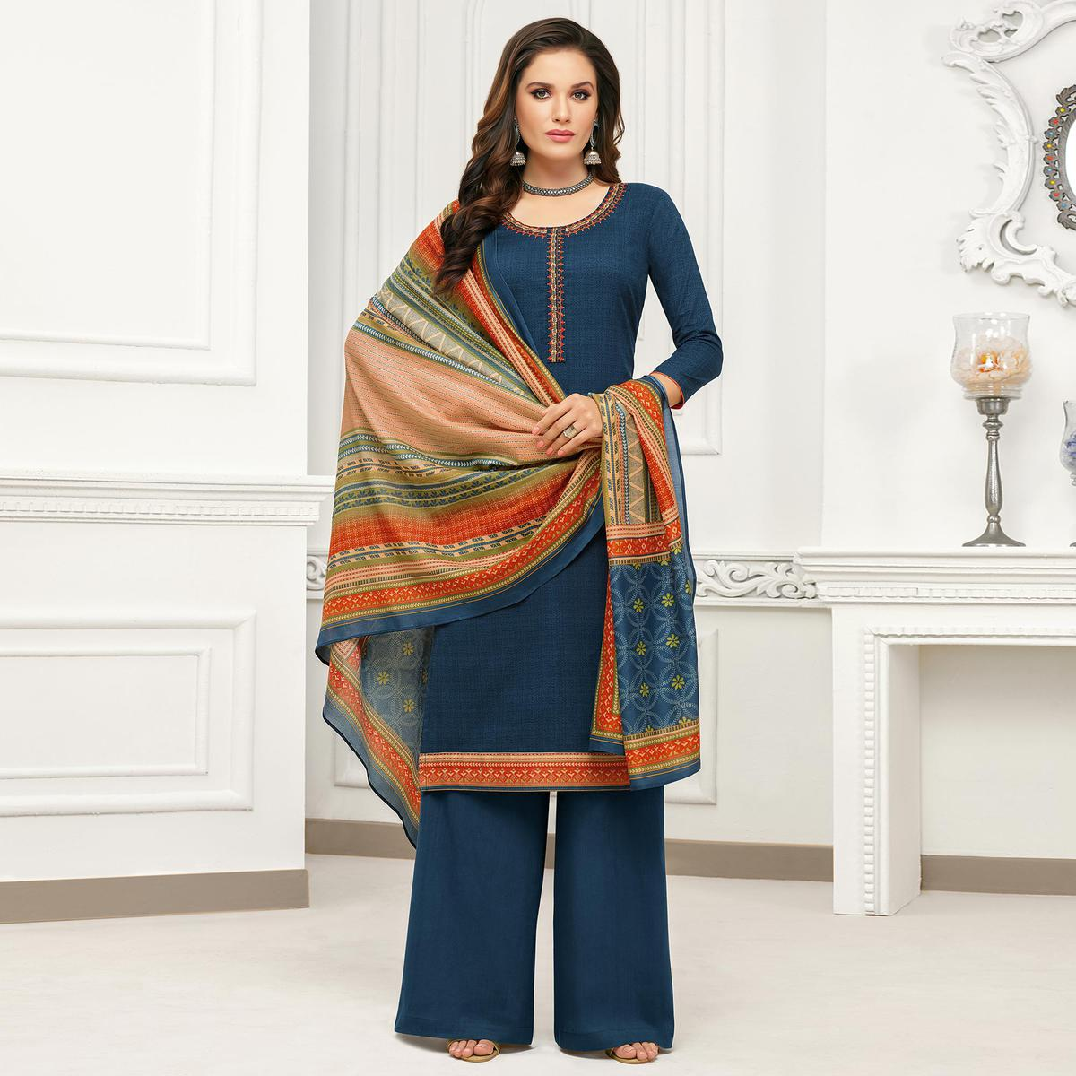 Appealing Blue Colored Casual Wear Pure Cambric Cotton Palazzo Suit