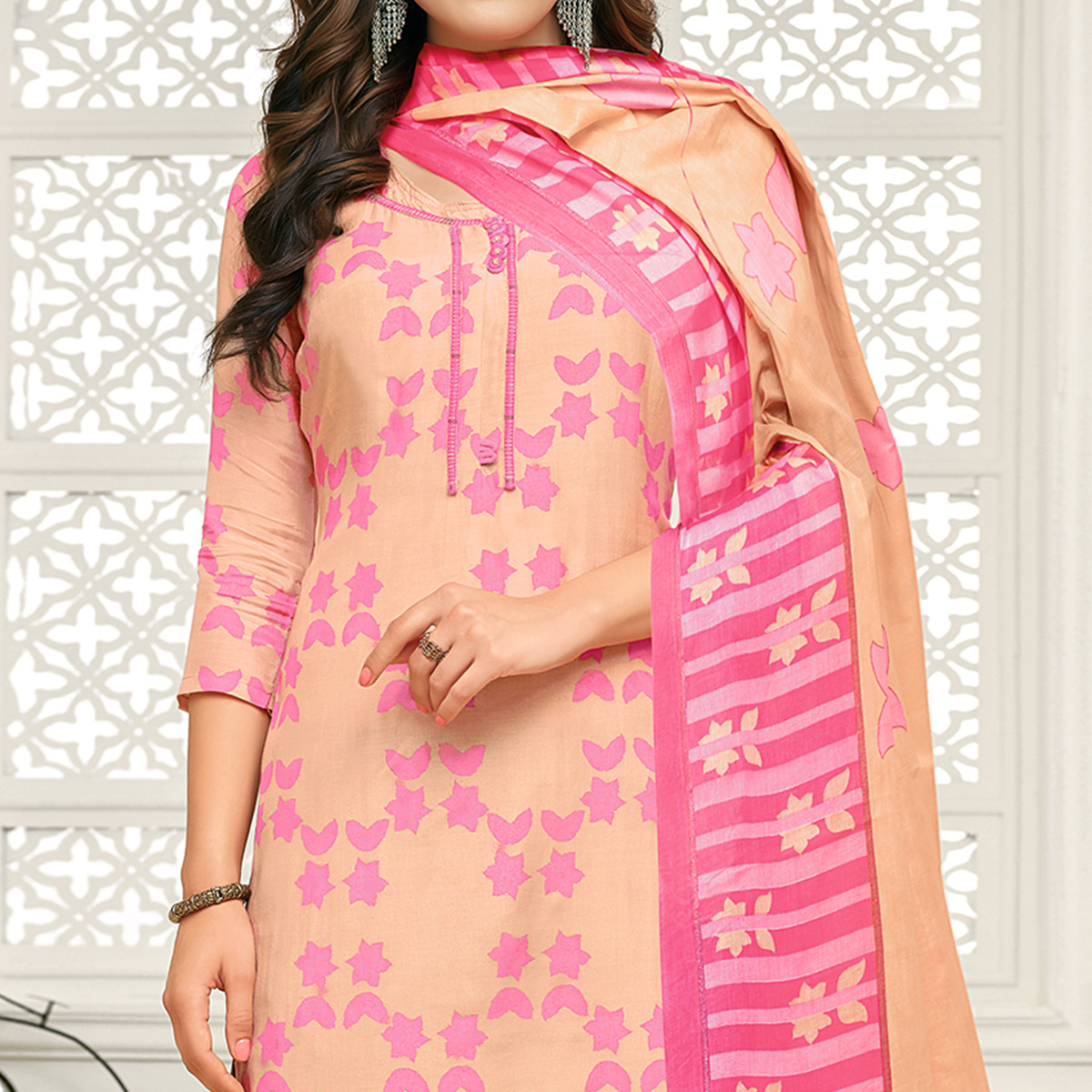 Capricious Peach Colored Casual Printed Pure Cambric Cotton Palazzo Suit
