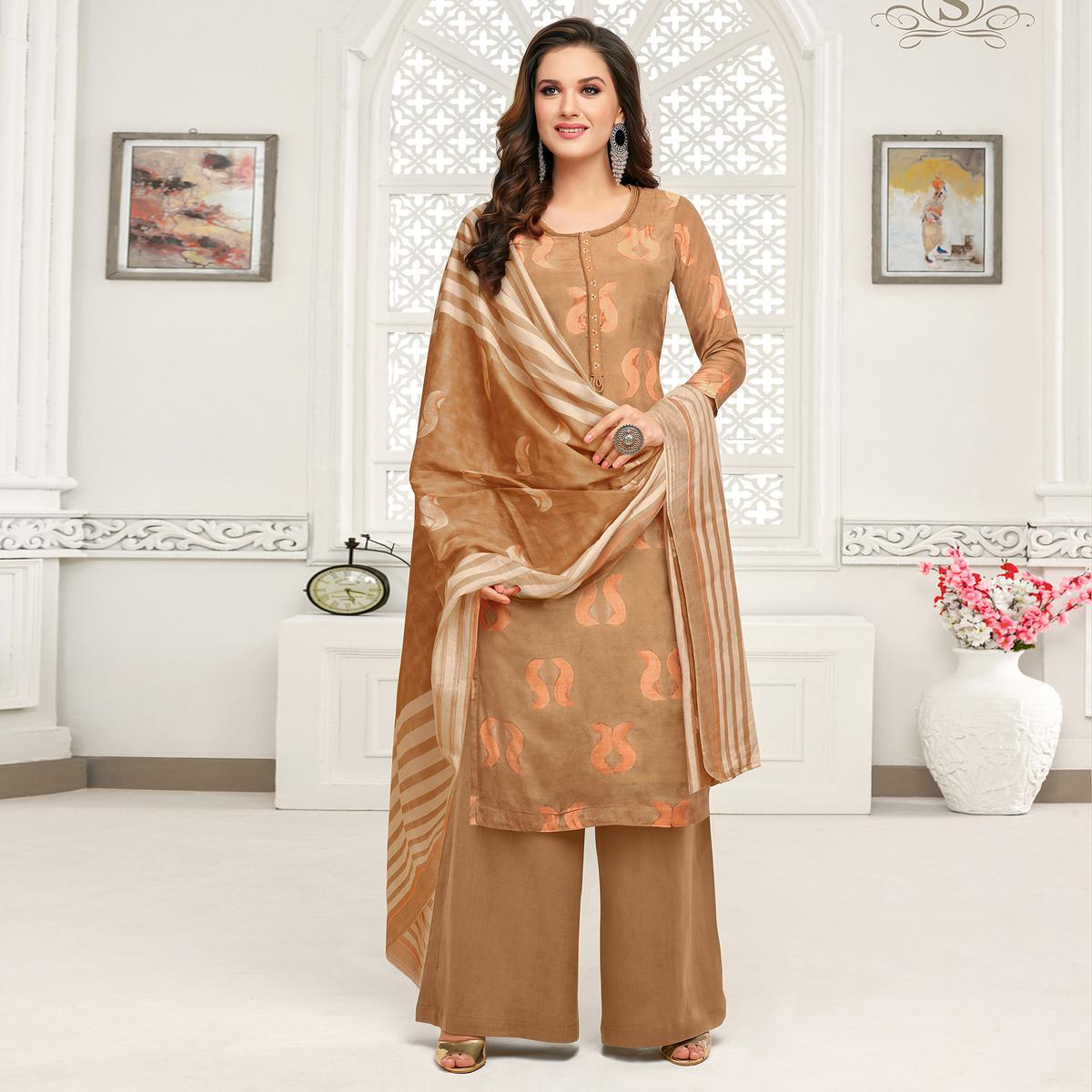Exotic Brown Colored Casual Printed Pure Cambric Cotton Palazzo Suit