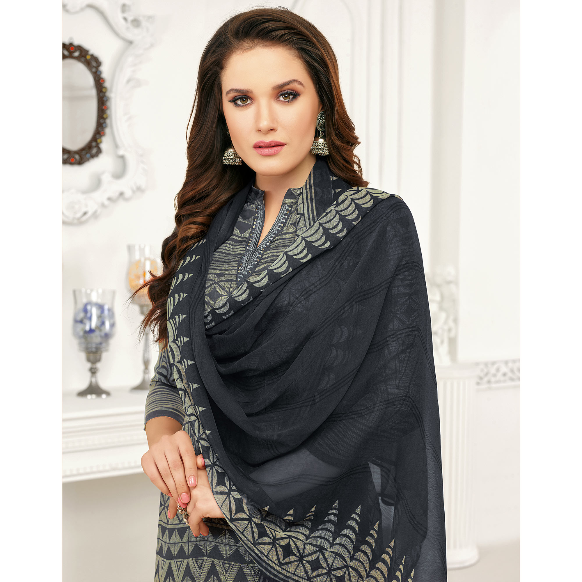 Beautiful Dark Grey Colored Casual Printed Pure Cambric Cotton Palazzo Suit