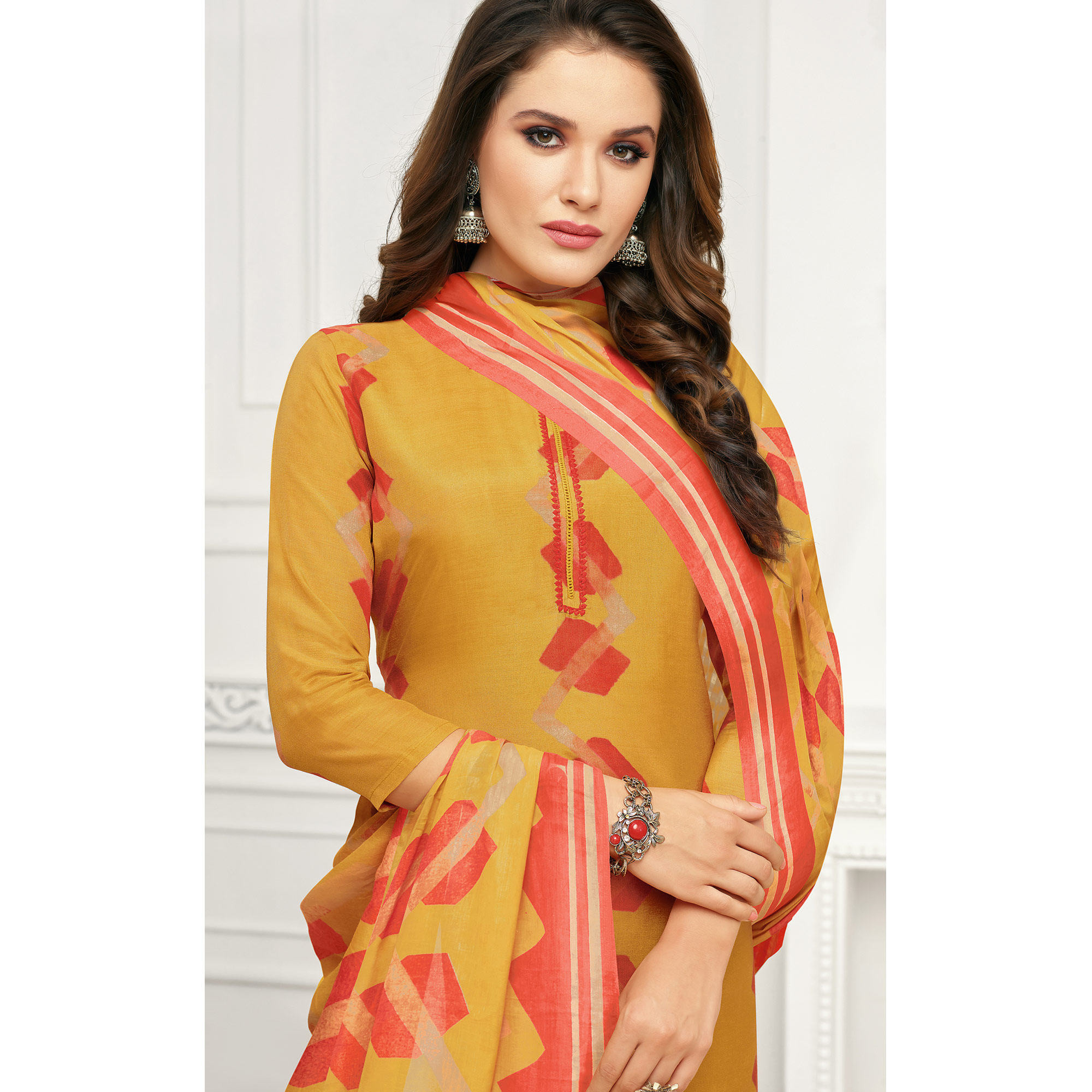 Graceful Yellow Colored Casual Printed Pure Cambric Cotton Palazzo Suit