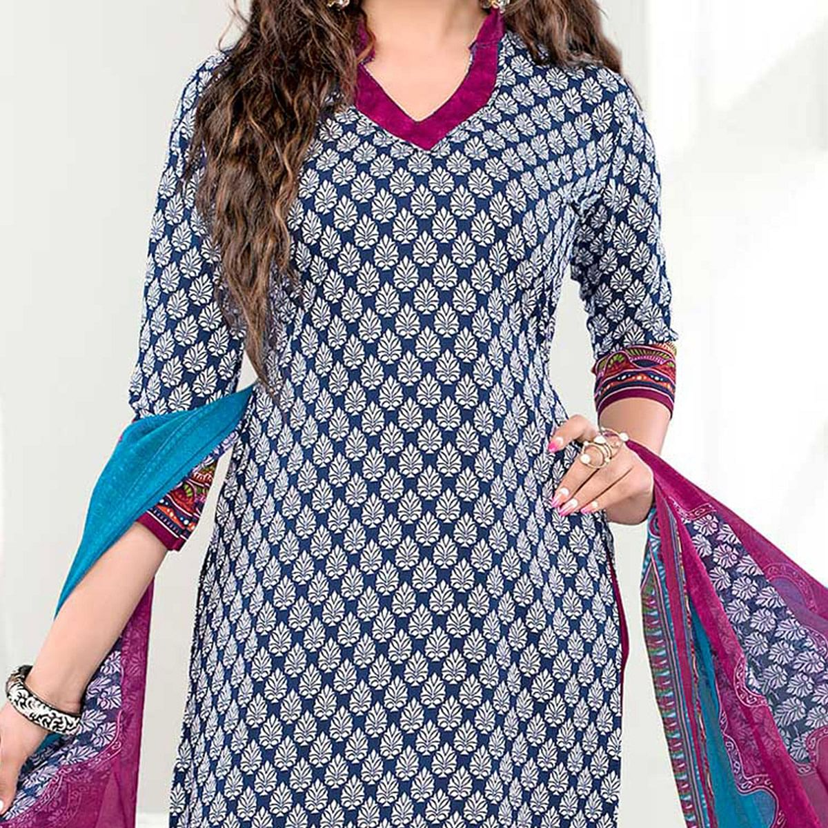 Off White - Blue Printed Salwar Suit