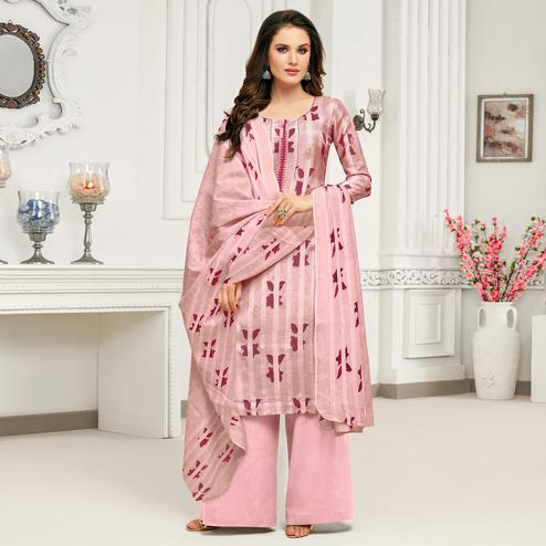 Sophisticated Pink Colored Casual Printed Pure Cambric Cotton Palazzo Suit