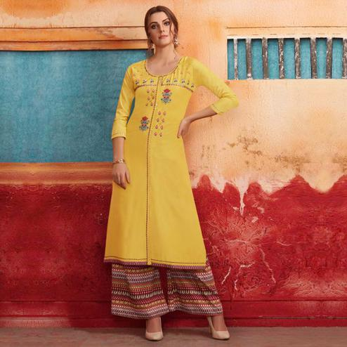 Preferable Yellow Colored Partywear Embroidered Pure Muslin-Silk Kurti-Palazzo Set