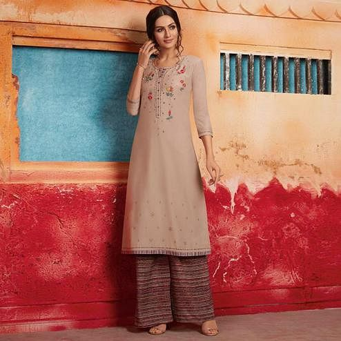 Mesmerising Beige Colored Partywear Embroidered Pure Muslin-Silk Kurti-Palazzo Set