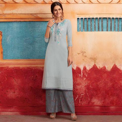 Pleasance Light Blue Colored Partywear Embroidered Pure Muslin-Silk Kurti-Palazzo Set