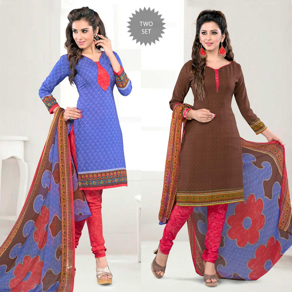 Royal Blue - Brown Unstitched Salwar Suit