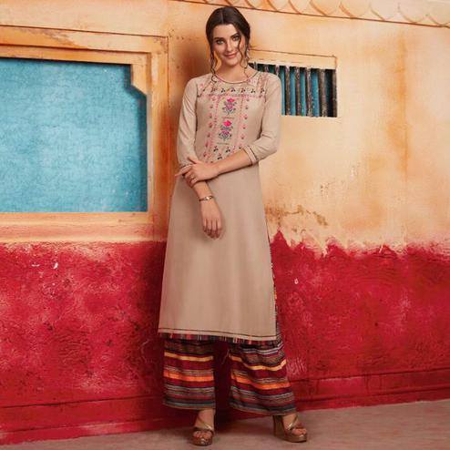 Marvellous Beige Colored Partywear Embroidered Pure Muslin-Silk Kurti-Palazzo Set