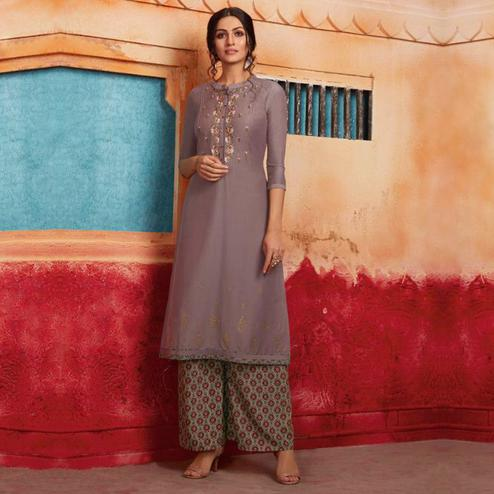 Flamboyant Grey Colored Partywear Embroidered Pure Muslin-Silk Kurti-Palazzo Set