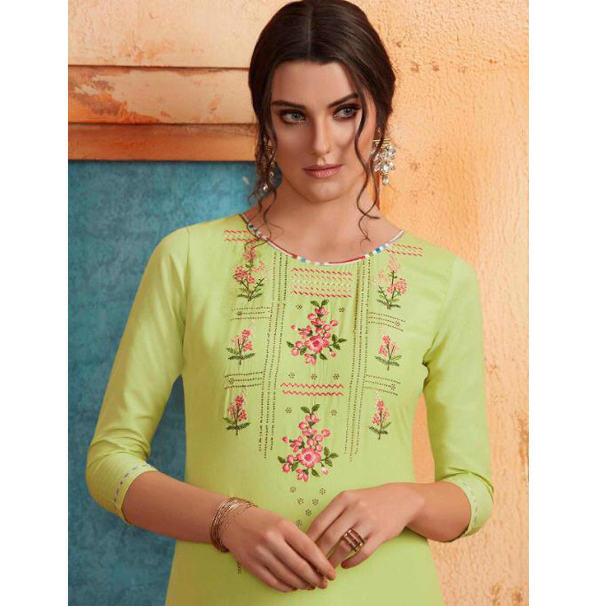 Breathtaking Bright Green Colored Partywear Embroidered Pure Muslin-Silk Kurti-Palazzo Set