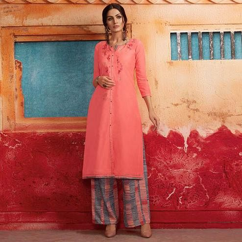 Ethnic Pink Colored Partywear Embroidered Pure Muslin-Silk Kurti-Palazzo Set