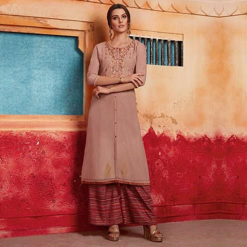 Flaunt Light Brown Colored Partywear Embroidered Pure Muslin-Silk Kurti-Palazzo Set