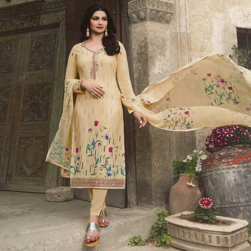 Fantastic Beige Colored Party Wear Embroidered Crepe Salwar Suit