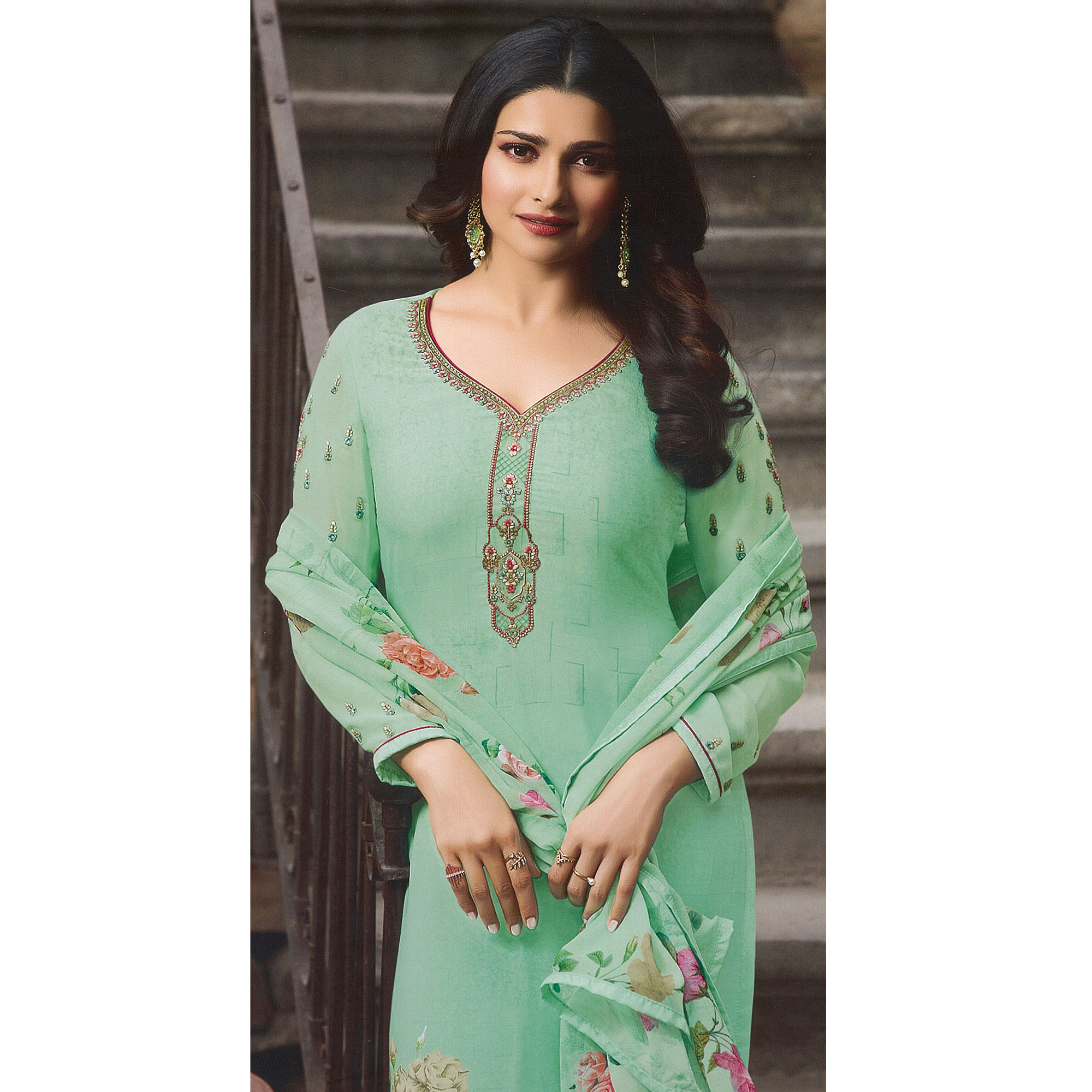 Gorgeous Aqua Green Colored Party Wear Embroidered Crepe Salwar Suit
