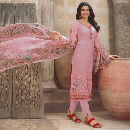Blissful Pink Colored Party Wear Embroidered Crepe Salwar Suit