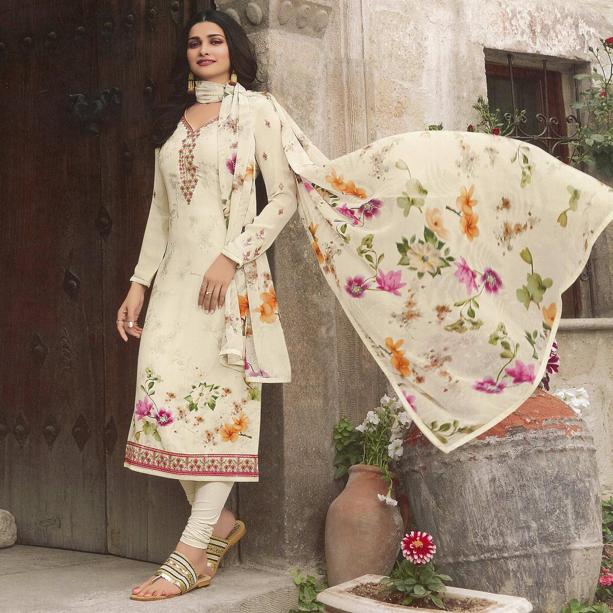 Ideal Cream Colored Party Wear Embroidered Crepe Salwar Suit