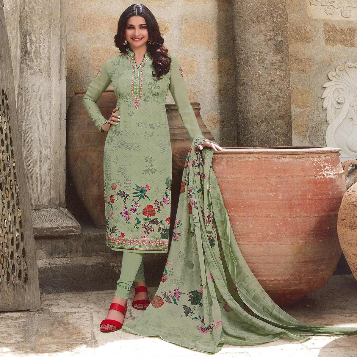 Imposing Pastel Green Colored Party Wear Embroidered Crepe Salwar Suit