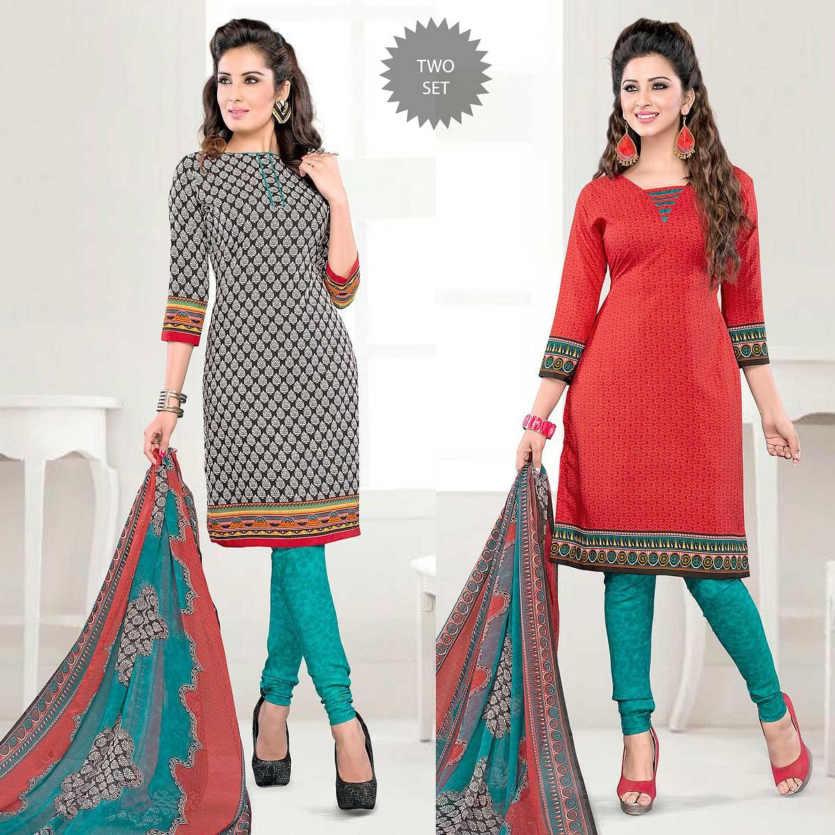 Off White - Red Office Wear Salwar Suit