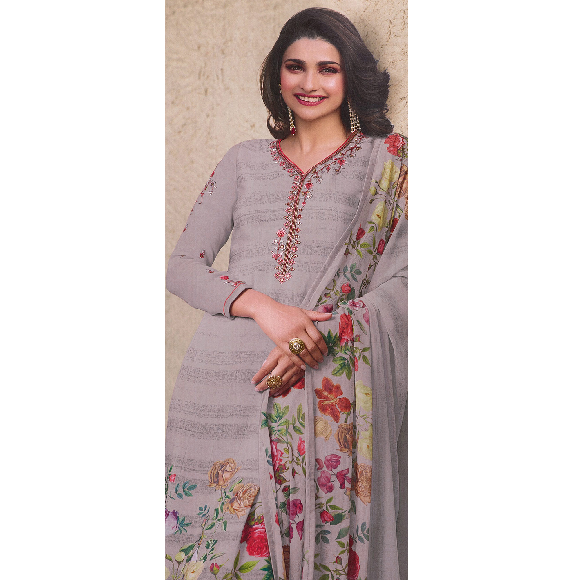 Lovely Grey Colored Party Wear Embroidered Crepe Salwar Suit