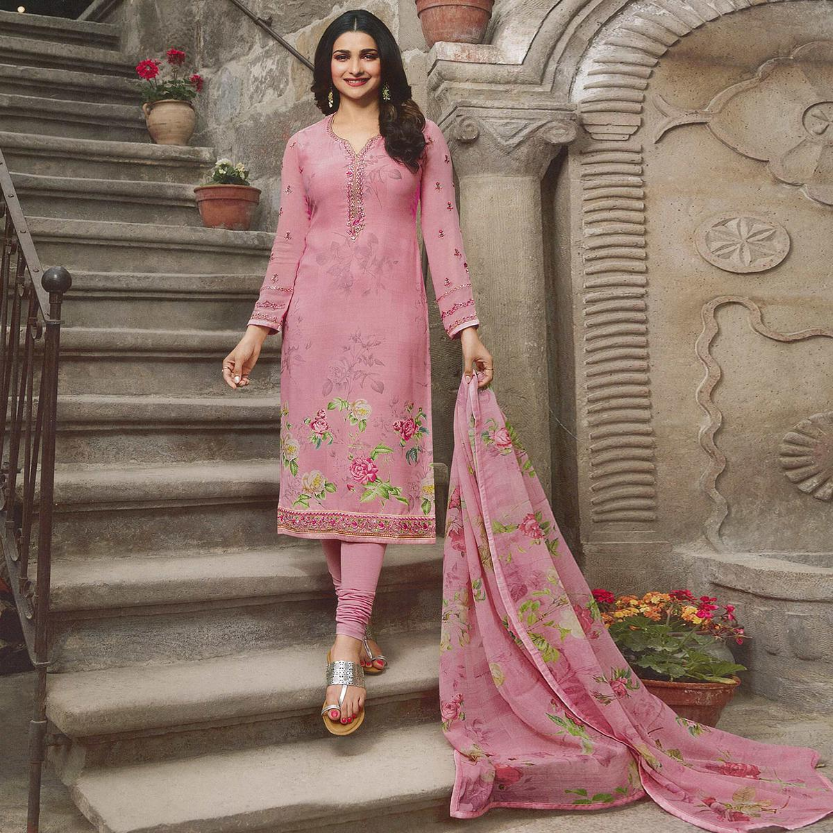 Majesty Pink Colored Party Wear Embroidered Crepe Salwar Suit