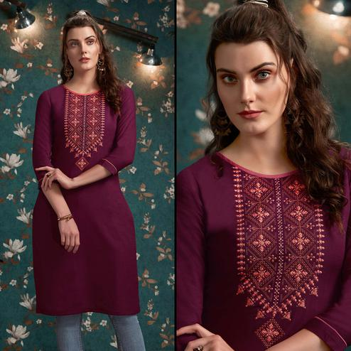 Intricate Wine Colored Casual Wear Embroidered Rayon Kurti