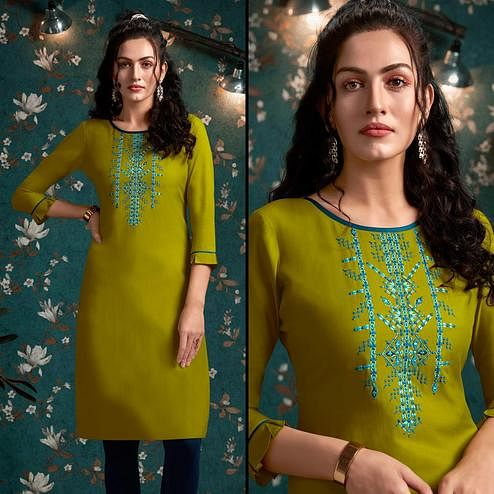 Arresting Olive Green Colored Casual Wear Embroidered Rayon Kurti