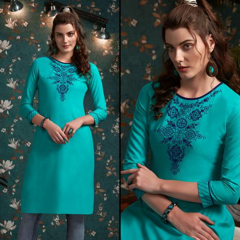 Exotic Aqua Blue Colored Casual Wear Embroidered Rayon Kurti