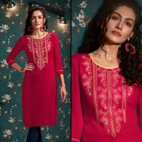 Elegant Pink Colored Casual Wear Embroidered Rayon Kurti