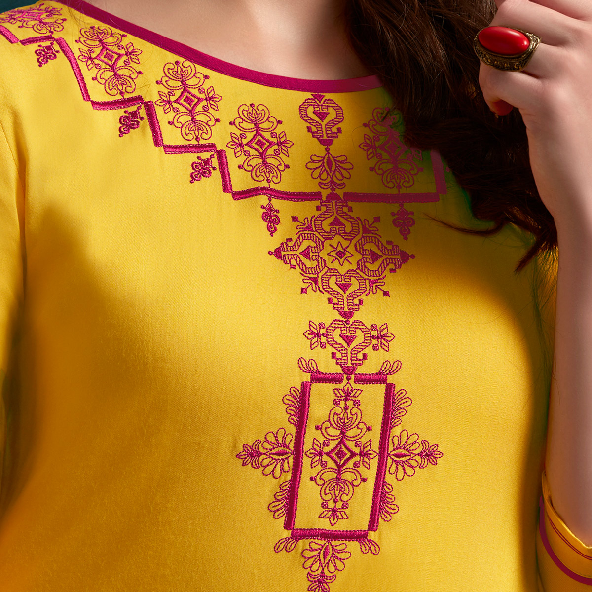 Radiant Yellow Colored Casual Wear Embroidered Rayon Kurti