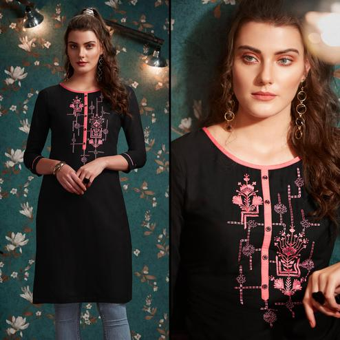 Pleasant Black Colored Casual Wear Embroidered Rayon Kurti