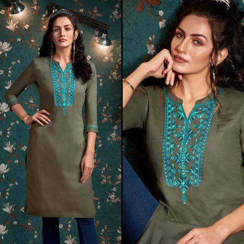 Opulent Grey Colored Casual Wear Embroidered Rayon Kurti