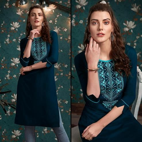 Glowing Teal Blue Colored Casual Wear Embroidered Rayon Kurti