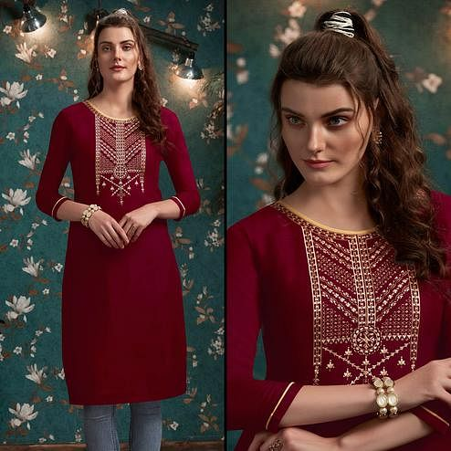 Exceptional Maroon Colored Casual Wear Embroidered Rayon Kurti