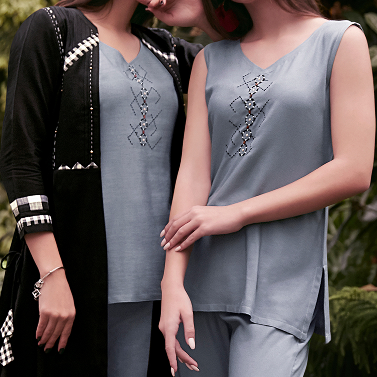 Gleaming Grey-Black Colored Partywear Embroidered Rayon Top-Bottom Set With Shrug
