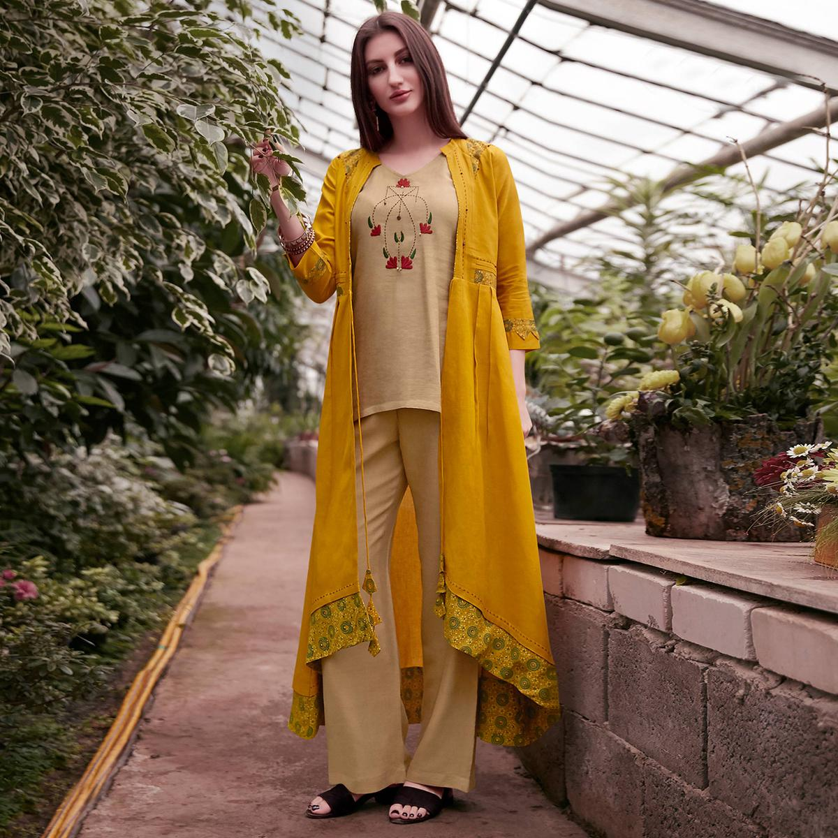 Mesmeric Beige-Yellow Colored Partywear Embroidered Rayon Top-Bottom Set With Shrug