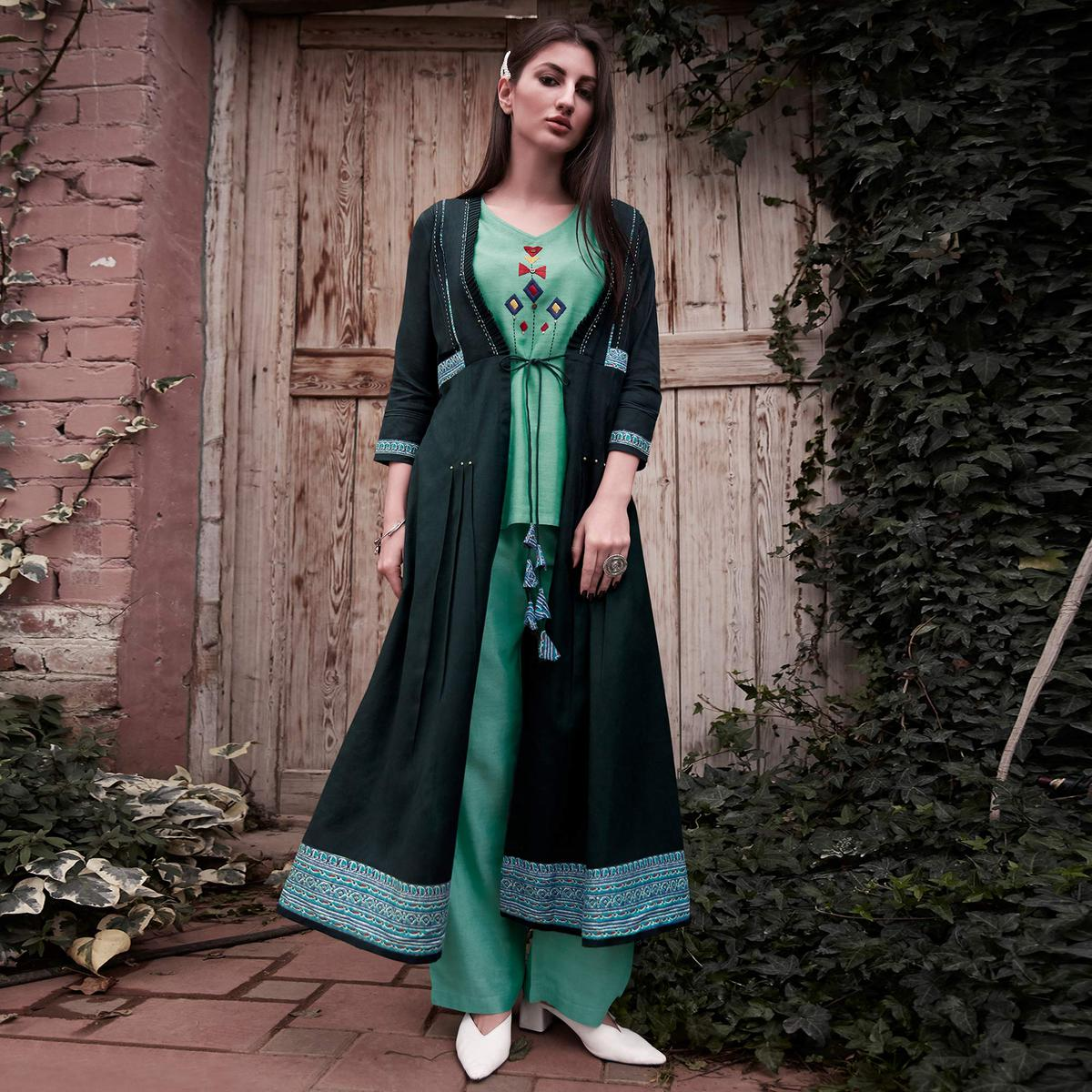 Demanding Aqua Green-Green Colored Partywear Embroidered Rayon Top-Bottom Set With Shrug