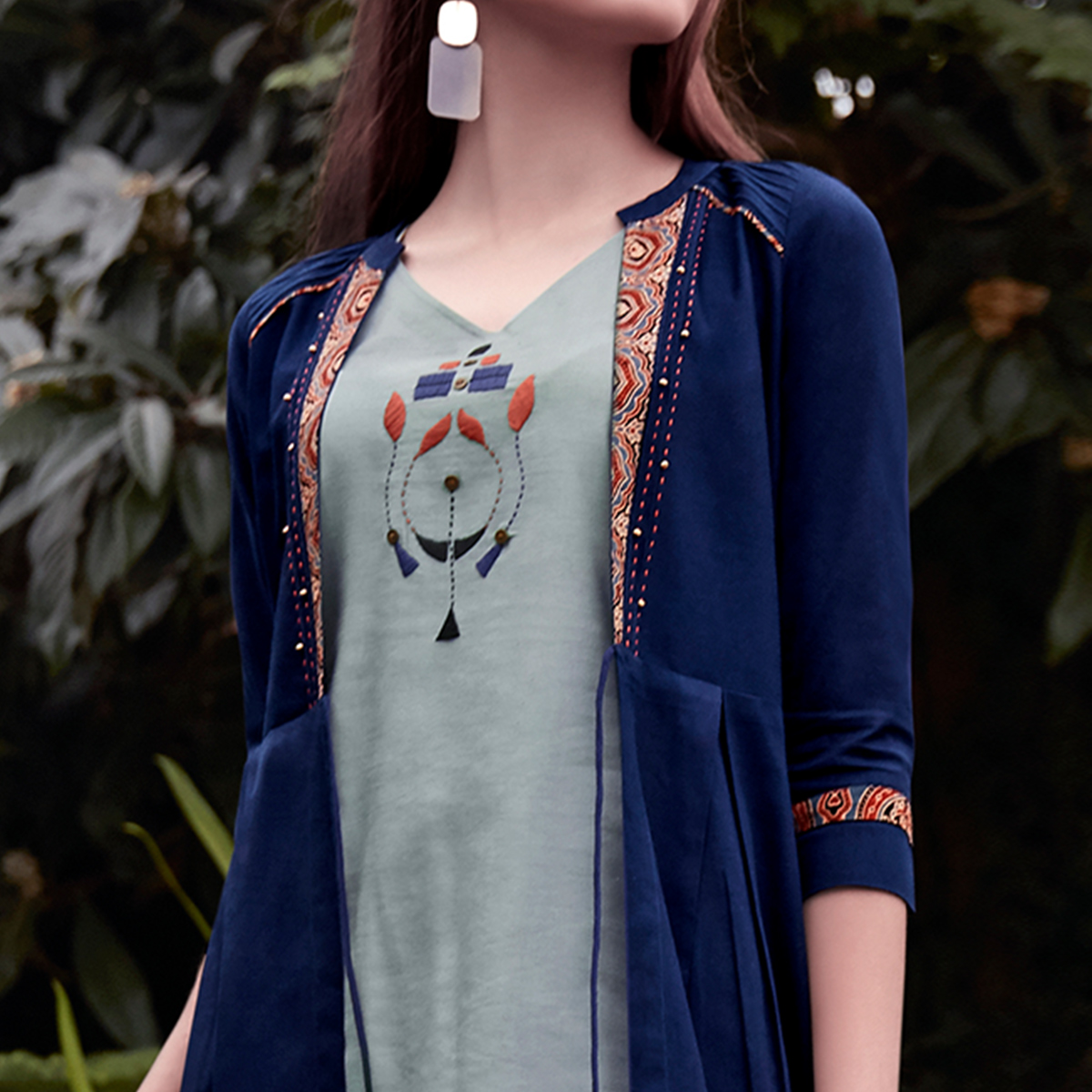 Refreshing Grey-Navy Blue Colored Partywear Embroidered Rayon Top-Bottom Set With Shrug