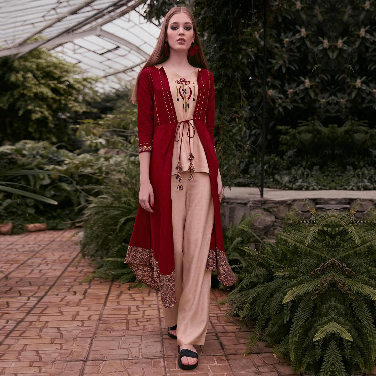 Magnetic Peach-Red Colored Partywear Embroidered Rayon Top-Bottom Set With Shrug