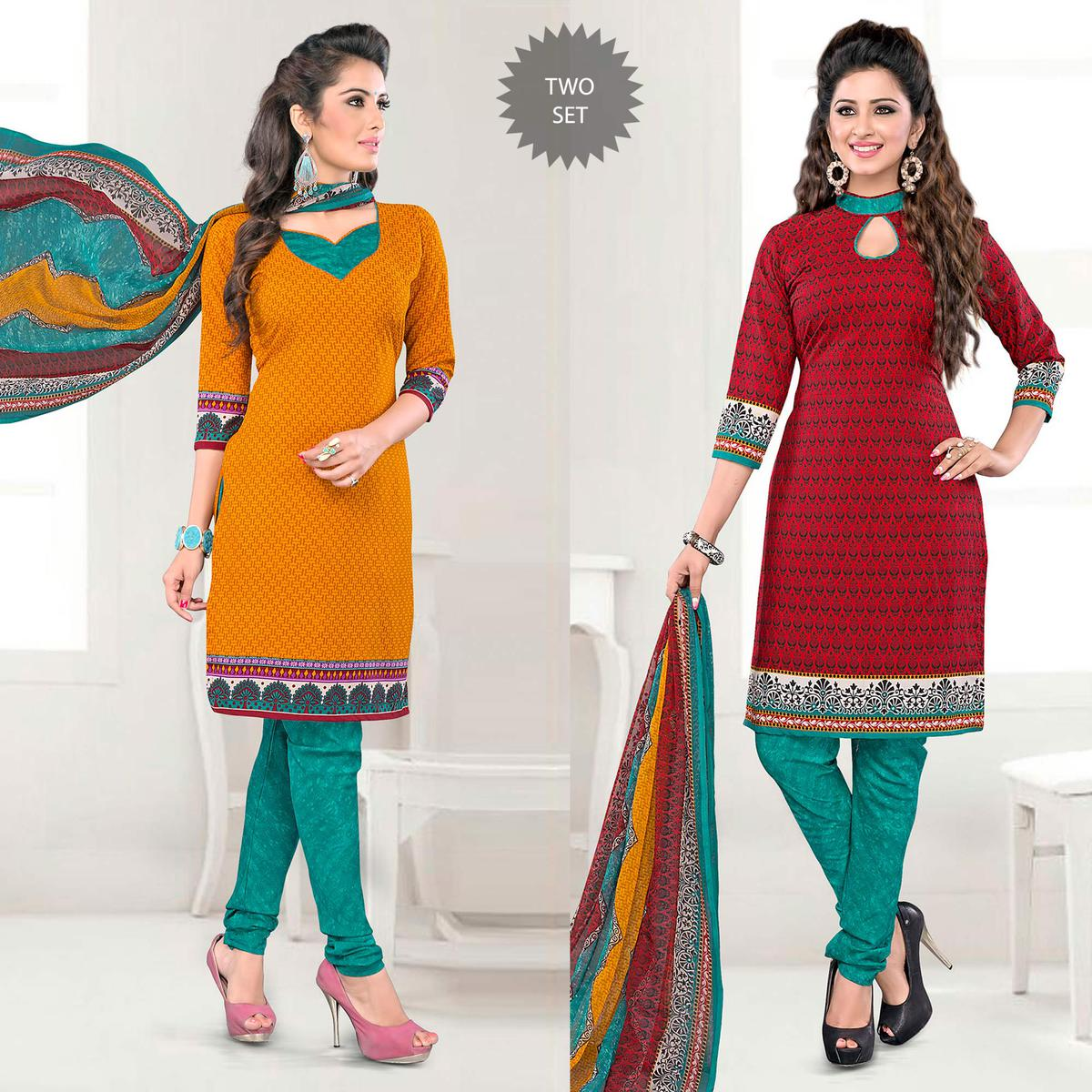 Mustard Yellow - Red Unstitched Salwar Suit