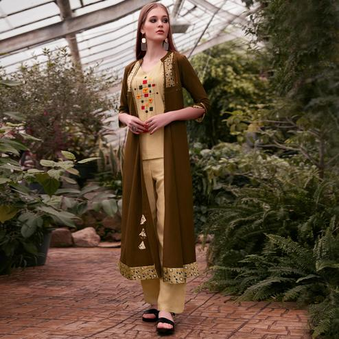 Hypnotic Beige-Brown Colored Partywear Embroidered Rayon Top-Bottom Set With Shrug