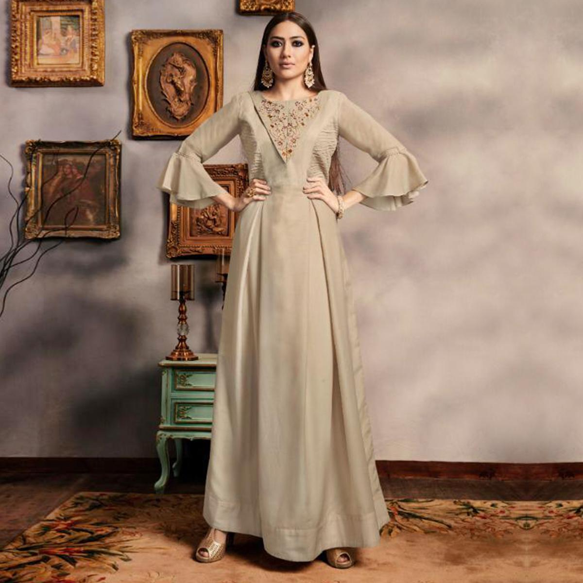 Adorable Beige Colored Party Wear Embroidered Viscose-Cotton Gown