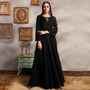 Glorious Black Colored Party Wear Embroidered Viscose-Cotton Gown
