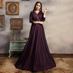 Attractive Dark Purple Colored Party Wear Embroidered Viscose-Cotton Gown